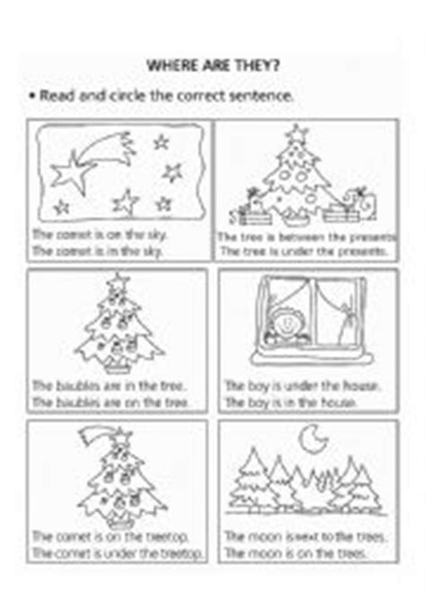 english worksheets prepositions  place christmas
