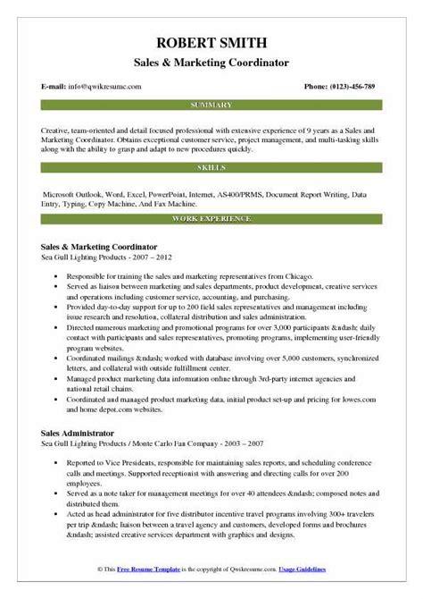 sales  marketing coordinator resume samples qwikresume
