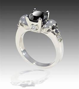 14k white gold black and white diamond skull engagement ring for Diamond skull wedding rings
