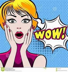 Surprised Woman Face With WOW Bubble Stock Vector - Image ...