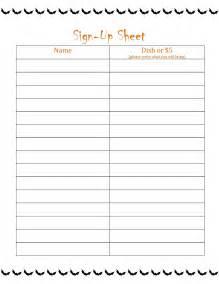 Printable Potluck Sign Up Sheet Template