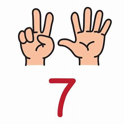 Fingers Clipart Number Seven Counting Mano Finger