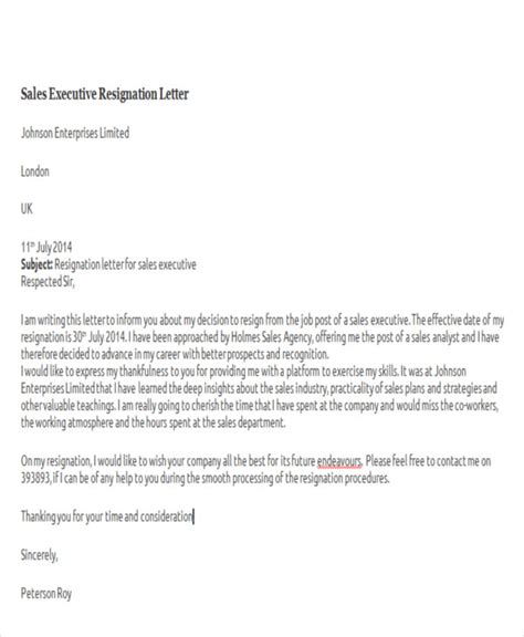 sample resignation letters
