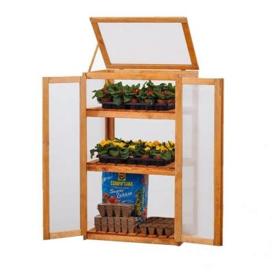 wooden  shelf outdoor cold frame cupboard grow house