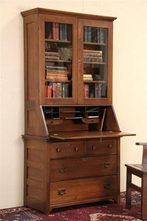 sold oak  antique secretary desk bookcase glass