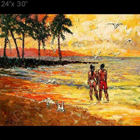 sunset beach surf sand palm palette knife art oil painting
