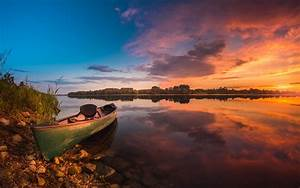 Sunrise, Photography, Peaceful, Lake, Boat, Sky, With, Red, Clouds