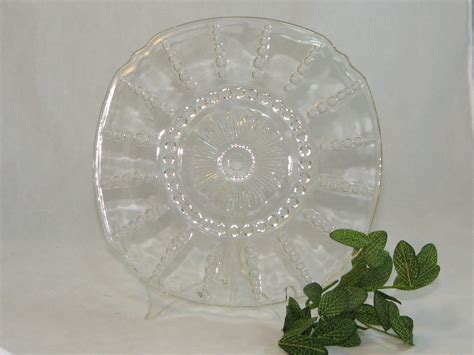 clear glass plates items similar to vintage mid century clear glass plate cake plate dessert plate on etsy