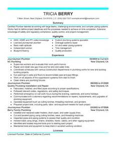 Journeyman Plumber Resume by Journeymen Plumbers Resume Exles Construction Resume Sles Livecareer