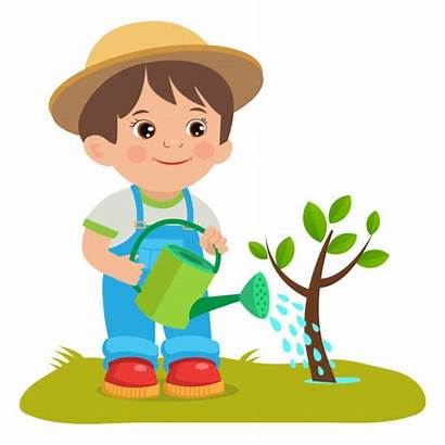 Watering Cartoon Boy Garden Gardener Farmer Growing