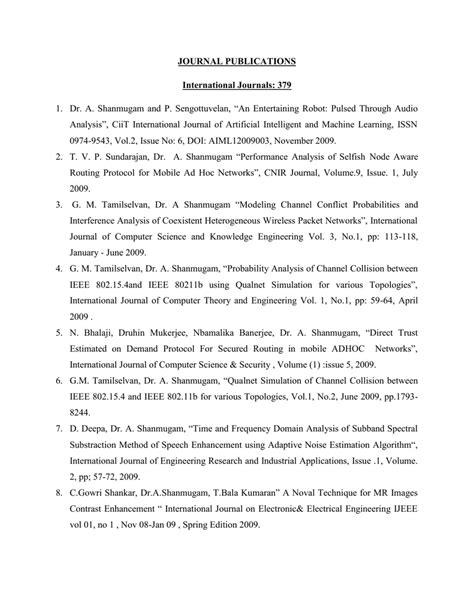 JOURNAL PUBLICATIONS International Journals