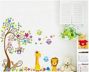 Cartoon Diy Owl Giraffe Animals Removable Wall Sticker
