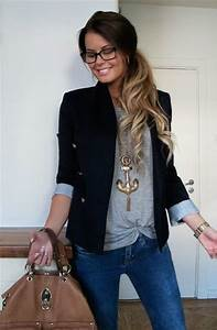 Casual blazer outfit   Fashion Inspiration   Pinterest   Everyday look Cross necklaces and Grey