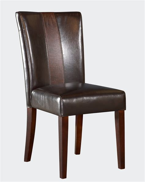 powell brown faux leather parsons chair 502 440