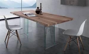 Table Plateau Verre Pied Bois : table repas bio glass en bois massif pietement en verre ~ Melissatoandfro.com Idées de Décoration