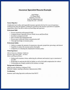sample insurance specialist skills for resume With insurance resume template
