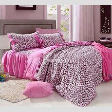 Unique Pink Leopard Print 4 Piece Bedding Setscomforter