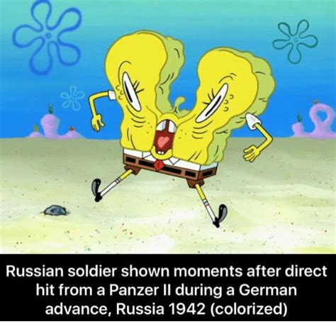 Colorized Memes - russian soldier shown moments after direct hit from a panzer ll during a german advance russia