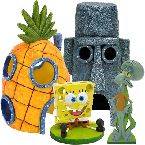 spongebob squidward home aquarium ornament set healthypets