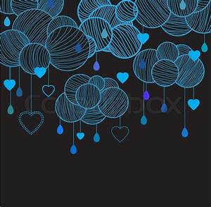 Cute background with hand drawing blue clouds Stock