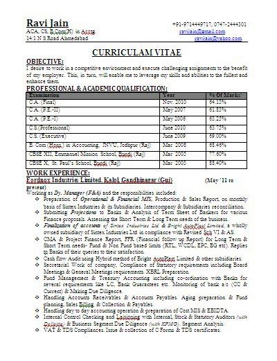 ca bcom experienced professional resume format