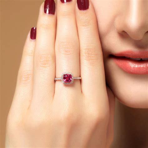carat cushion cut ruby  diamond engagement ring rose gold jeenjewels