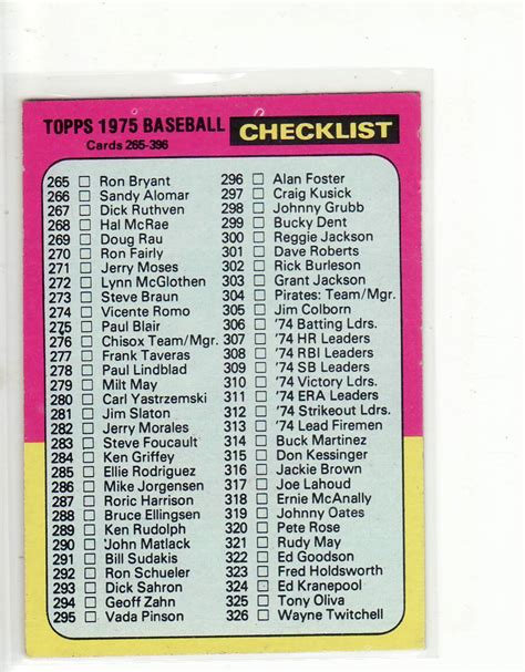2021 bowman baseball is a product that acts as the base to the bowman baseball brands. 1975 topps baseball card#386 checklist 265-396 clean f/b ...