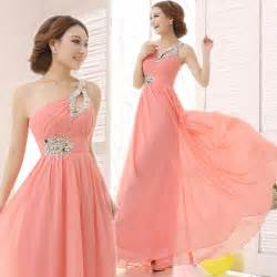 cheap coral bridesmaid dresses brief dress one shoulder cheap coral bridesmaids dresses chiffon dress 2015 new