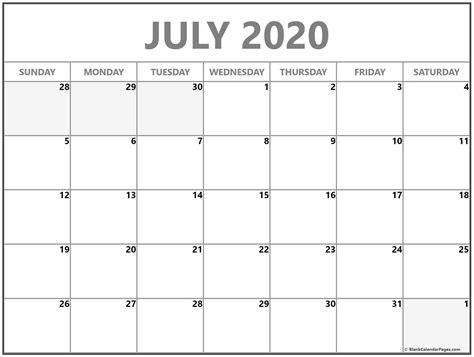 july blank calendar templates