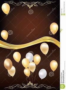Wedding Card Pattern Dark Brown Celebration Background With Balloons Stock