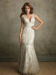 Vintage lace wedding dress with deep v necklinecherry for Deep v lace wedding dress