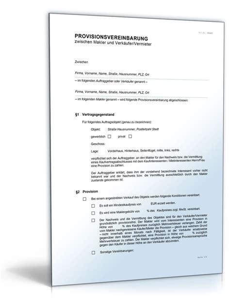 provisionsvereinbarung makler vermieter