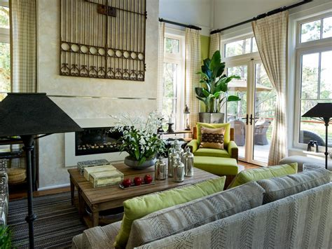 hgtv living rooms neutral living room with rustic accents hgtv