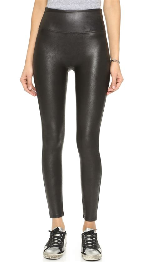 Spanx Cropped Faux Leather Leggings in Black   Lyst