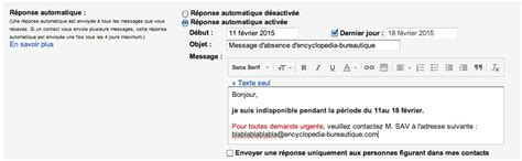 message d absence bureau 28 images exemple de message d absence mail document tutoriel cr