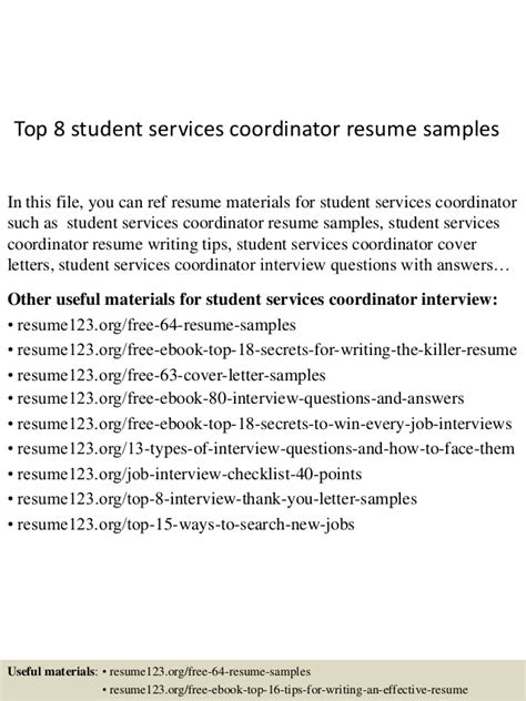 top  student services coordinator resume samples