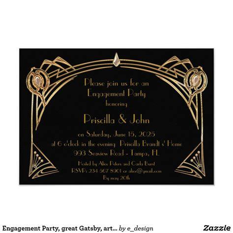 Engagement Party great Gatsby art deco black Invitation