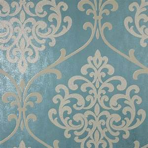 Kenneth James Ambrosia Teal Glitter Damask Wallpaper
