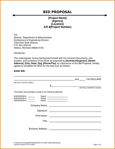 Contractors Bid Template by Construction Bid Templatereference Letters Words