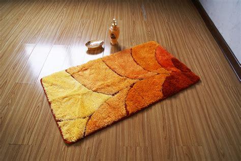 modern rectangle bright orange skidproof bathroom mat rug