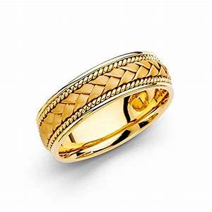 Wellingsaler 14k yellow gold polished satin 6mm handmade for Custom made wedding bands to fit engagement ring