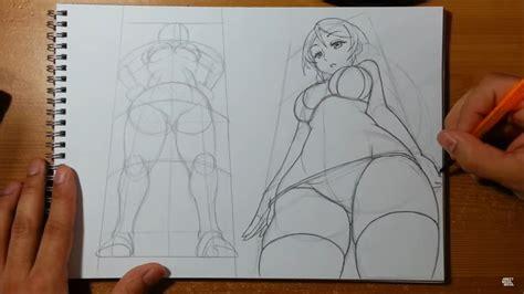 draw foreshortening female anime manga