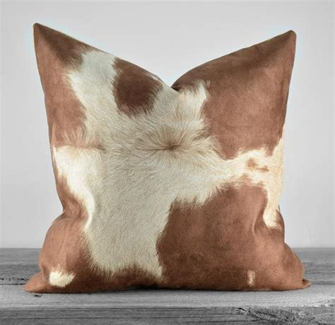 Cowhide Faux Fabric by Pillow Cover Faux Cowhide Brown Cow Suede Fabric Same