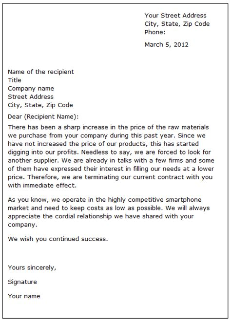 business relationship sample letter