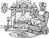 Fireplace Scene Coloring Drawing Stamps Rubber Sketch Scenes Colouring Adult Stampin Holiday Farm Sheets Printables sketch template