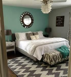 Deco Chambre Bois : peinture murale idee deco chambre bleu canard et un mur en gris lit en gris et lige maison ~ Melissatoandfro.com Idées de Décoration