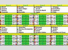 Calendario de encuentros Mundial Brasil 2014 Mundial