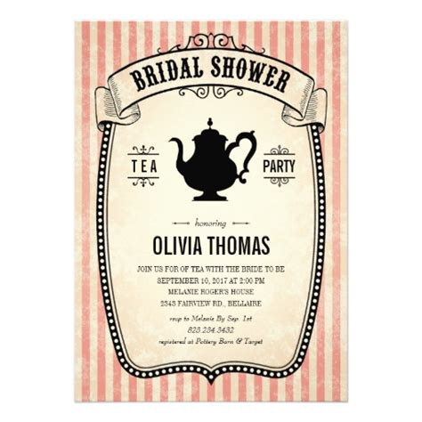 vintage bridal shower tea invitations 5 quot x 7