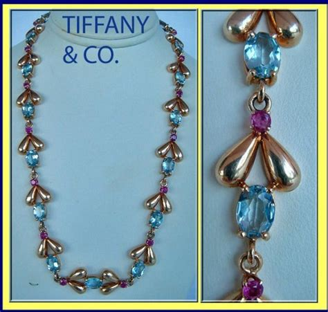antique tiffany ls for sale vintage necklace tiffany co aquamarine ruby 18k gold for