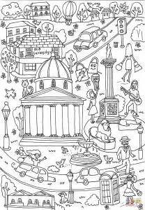 trafalgar square coloring page  printable coloring pages